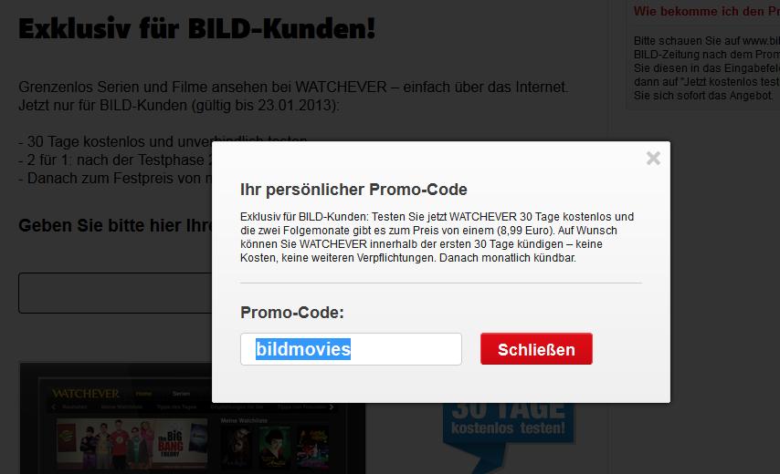 Watchever kostenlos Promo-Code